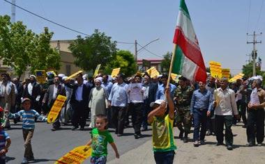 راهپیمایی روز جهانی قدس در منطقه قهاوند برگزار شد