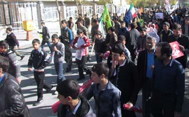 راهپیمایی باشکوه یوم الله ۱۳ آبان در قهاوند برگزار شد